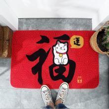 新款福字尼龙除尘进门地垫 红色招财猫家用玄关门厅耐磨防滑脚垫