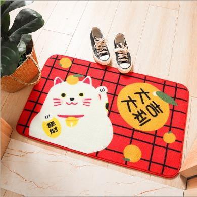 日式招财猫家用尼龙门厅进门地垫 厨房卧?#28082;?#33394;长条防滑吸水脚垫