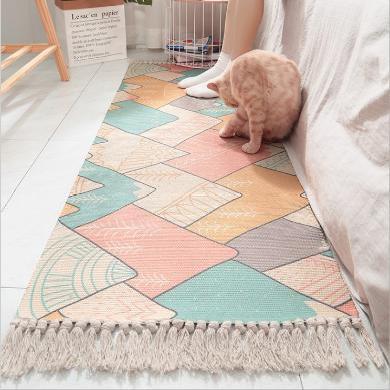 ins日式纯棉?#27490;?#32534;织床边地毯