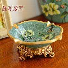 墨菲美式乡村彩绘烟灰缸 欧式摆件家居客厅树脂装饰复古瓜子果碟