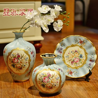 墨菲歐式田園復古陶瓷花瓶三件套電視柜酒柜美式軟裝飾工藝品擺件