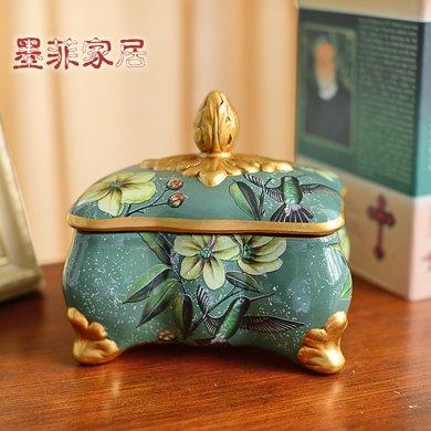 墨菲歐式田園復古陶瓷首飾盒擺件 美式裝飾手飾項鏈小物件收納盒