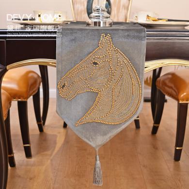 DEVY 歐式創意馬家居餐桌桌旗桌墊美式復古茶幾桌布布藝桌墊