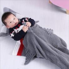 ins北欧风小鲨鱼线毯 美人鱼毯子 儿童 针织毯空调毯