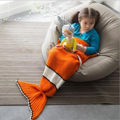 新款兒童尼莫魚美人魚毯子魚尾巴針織毯蓋毯午睡毯