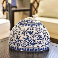 墨菲新中式古典青花瓷收纳罐客厅玄关陶瓷储物罐家居装饰品摆件