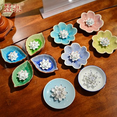 墨菲 陶瓷香盘手工陶瓷莲花香炉香托净心供桌香插不规则边香盘