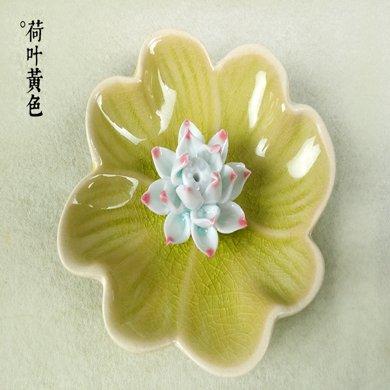墨菲 陶瓷香盤手工陶瓷蓮花香爐香托凈心供桌香插不規則邊香盤