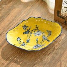 墨菲新中式復古新古典陶瓷手工大果盤 美式鄉村花鳥餐桌高端擺件
