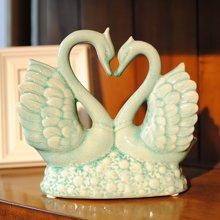墨菲 浪漫冰裂釉陶瓷天鵝 家居軟裝飾工藝品客廳酒柜創意禮物擺件