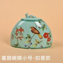 墨菲 彩繪美式鄉村陶瓷花鳥收納罐 新中式復古典擺件客廳儲物罐子