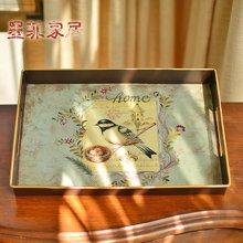 墨菲 美式乡村田园彩绘铁艺大托盘 创意客厅水果盘复古装饰品摆件