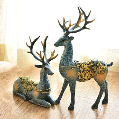 墨菲歐式客廳電視柜美酒柜軟裝飾品家居工藝品新結婚慶禮物鹿擺件