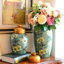 墨菲美式乡村陶瓷储物罐家居软装饰品客厅玄关酒柜样板房欧式摆件