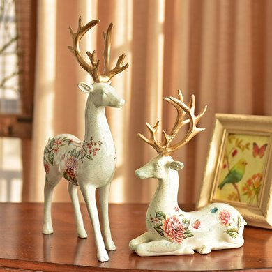 墨菲美式鄉村鹿客廳電視柜酒柜裝飾品擺設結婚禮物家居工藝品擺件