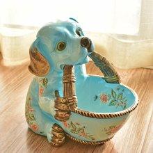 墨菲美式客廳茶幾干果盤鑰匙創意收納生肖狗本命年吉祥物裝飾擺件