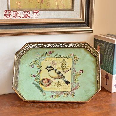 墨菲 美式鄉村田園鐵藝托盤擺件歐式家居客廳茶幾裝飾品果盤果簍