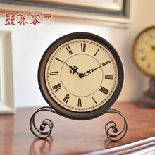 墨菲 美式復古鐵藝座鐘擺件古典家居客廳桌面裝飾品擺設臺鐘座鐘