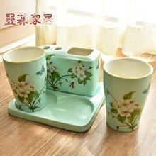 墨菲美式乡村浴室卫浴陶瓷四件套新中式古典创意情侣洗漱用品摆件