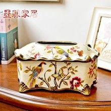 墨菲 欧式田园家用客厅花鸟纸巾盒美式创意家居茶几餐巾抽纸盒