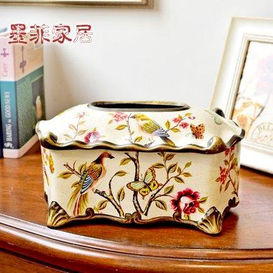 墨菲 歐式田園家用客廳花鳥紙巾盒美式創意家居茶幾餐巾抽紙盒