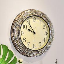 墨菲 欧式创意贝壳石英静音钟表 美式现代轻奢大气时钟客厅挂钟