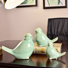 三口之家小鳥擺件 冰裂釉陶瓷創意客廳壁柜酒柜子家居裝飾工藝品