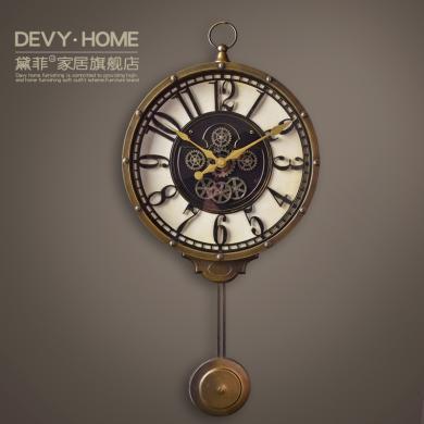 DEVY 美式創意時尚掛鐘 家居樣板房客廳臥室復古懷舊裝飾鐘表擺件