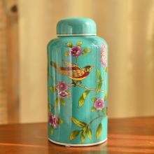 墨菲 美式田園鄉村陶瓷彩繪儲物罐收納罐 糖果罐樣板房間裝飾擺件