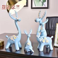 墨菲創意四口之家陶瓷擺件現代簡約家居客廳裝飾品擺設結婚慶禮物