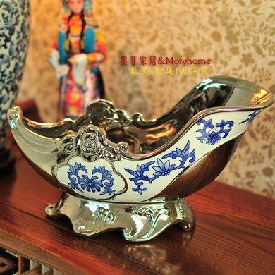 墨菲弗洛戈藍西洋混搭歐式創意青花瓷電鍍銀紅酒架子酒托裝飾擺件