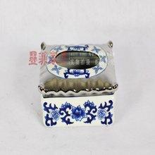 弗洛戈蓝 创意抽纸盒客厅欧式电镀陶瓷青花纸巾盒餐巾盒装饰摆件