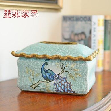 墨菲美式鄉村復古紙巾盒客廳裝飾擺件歐式陶瓷創意餐巾紙盒抽紙盒