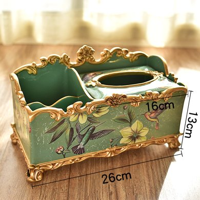 墨菲歐式多功能紙巾盒客廳茶幾美式裝飾化妝品收納盒遙控器抽紙盒