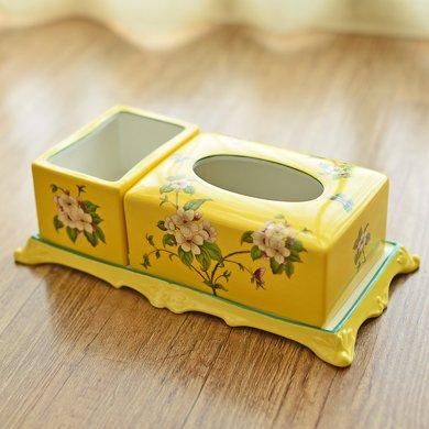 墨菲美式鄉村粉彩陶瓷多功能紙巾盒新中式客廳遙控器儲物盒抽紙盒