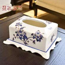 墨菲新中式陶瓷纸巾盒美式乡村客厅餐桌卧室抽纸盒家居装饰品摆件
