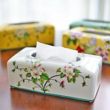 墨菲 新中式古典手工陶瓷紙巾盒 美式鄉村裝飾客廳茶幾餐廳抽紙盒
