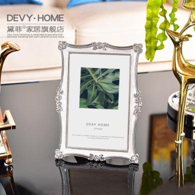DEVY 欧?#37233;?#24847;金属相框摆台6寸?#20202;?#30456;框相架摆件美式个性玻璃照片