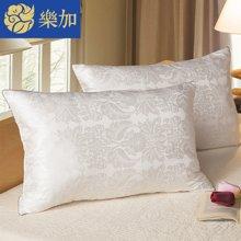 乐加家纺 单双人简约纤维枕头芯枕头 高弹枕大提花亲肤枕