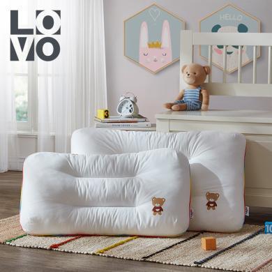LOVO 家紡全棉面料兒童枕頭柔軟護膚熊兜兜防螨纖維枕