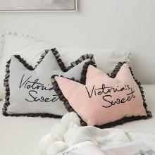 羽芯家紡  少女風蕾絲皇冠抱枕靠墊靠枕枕頭