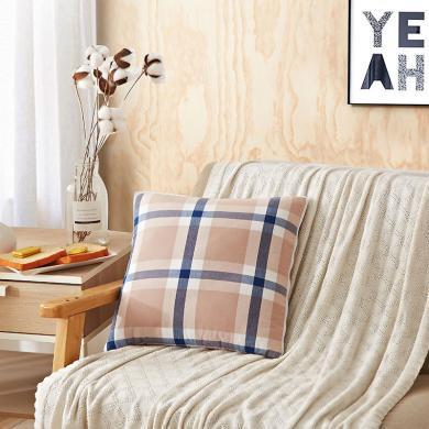 恒源祥家紡 全棉靠墊被 抱枕被 汽車墊 沙發墊辦公室午睡枕 空調被 四季毯(咖啡格)