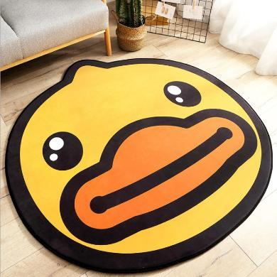 小黃鴨圓形家用地毯地墊 卡通造型客廳沙發臥室加厚防滑腳墊