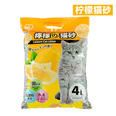 爱丽思IRIS 柠檬蜜桃清香?#22836;鄢九?#28070;土猫砂TYP-4L 带香味猫砂
