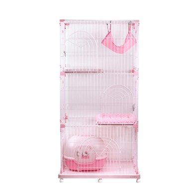 爱丽思IRIS 宠物猫笼梯子三层大号豪华猫别墅猫咪笼PEC 903粉色