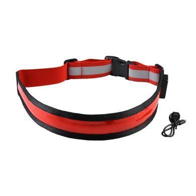 運動戶外LED夜跑發光腰帶透氣護腰健身工作騎行運動束腰帶USB充電H060012