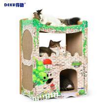 得酷 猫用洋房猫屋猫抓板大瓦楞纸猫?#20848;?#29483;别墅猫磨爪屋猫咪