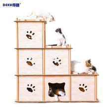 得酷 瓦楞纸双层猫屋组合猫抓板DIY阶梯猫咪家二层三层多选择