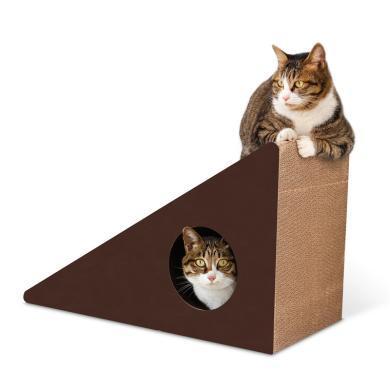 得酷 瓦楞纸大号猫窝猫抓板猫磨爪玩具多面可用靠墙三角送铃铛
