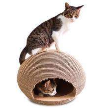 瓦楞纸猫屋喵星人球形猫窝抓板猫磨爪玩具猫咪用品送薄荷